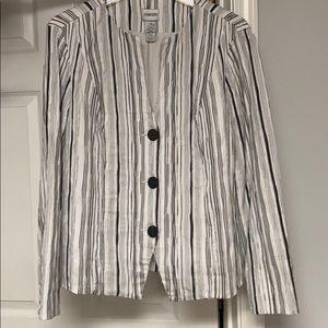Chico jacket white w/ black, gray, silver stripe.